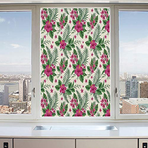 3D Decorative Privacy Window Films,Plumeria and Hibiscus Flora Tropical Island Nature Aloha Hawaii Jungle Decorative,No-Glue Self Static Cling Glass film for Home Bedroom Bathroom Kitchen Office 24x36