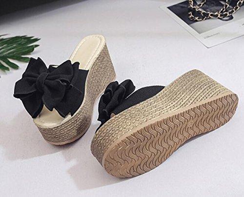 KHSKX-Negro De 9Cm De Espesor Sandalias Pendiente Con Zapatillas Femenina La Versión Coreana De La Moda De Verano Con Ultra Cool Y Bizcocho De Arrastre La Pajarita 39