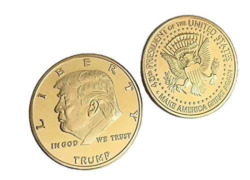 Gold Plated Donald Trump Coin with Display Case - Limited Collector's Edition - Signature Slogan