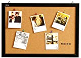 Wood Frame Cork Board Bulletin Board 48 x 36, Mounting Hardware, Push Pins Included