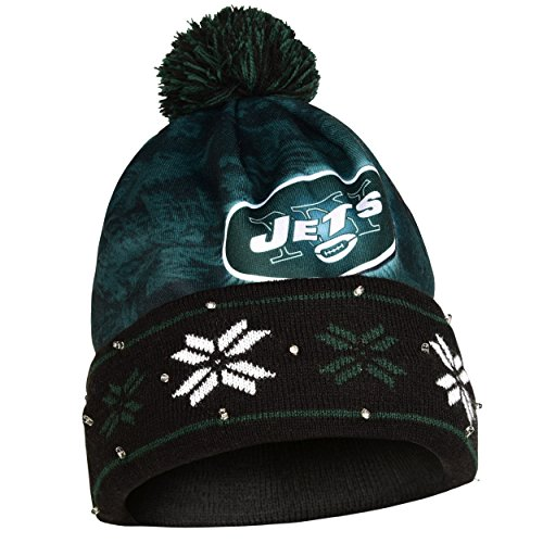 NFL Big Logo Light Up Printed Beanie Knit Cap (New York Jets) - New York Jets Knit Hat