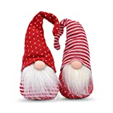 Whole House Worlds Santa Gnomes, Set of 2, Rustic Swedish Style, Handcrafted, Weighted Bottom, Christmas Decoration, Bendable Hats, Nordic Knit Polyester, Faux Fur, 11 3/4 Inches Tall, by WHW