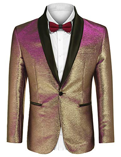 (COOFANDY Men's Fashion Suit Jacket Blazer One Button Luxury Weddings Party Dinner Prom Tuxedo Gold Silver (XX-Large, Rose Golden))