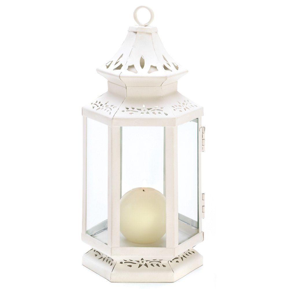 Gifts & Decor Medium Size Victorian White Candle Lantern Candleholder Furniture Creations 13362