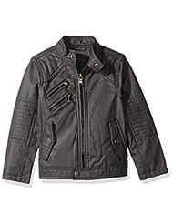 Urban Republic Little Boys\' Ur Faux Leather Jacket, Darkchar...
