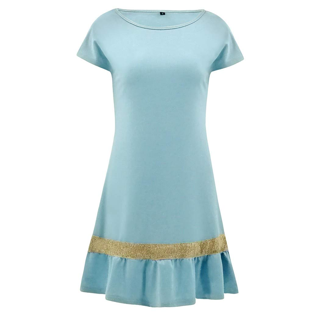 OSTELY Womens Short Sleeve Party Retro Patchwork Casual Shirt Dress