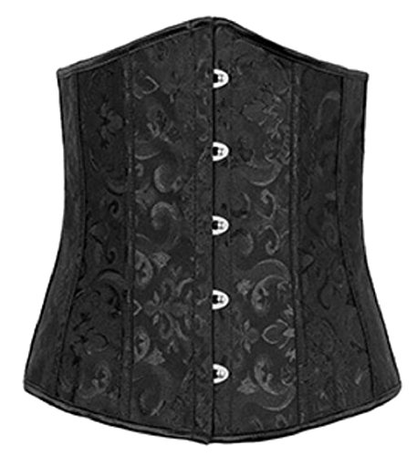 ouxiuli Womens Sexy Single-Breasted Tapestry Brocade Vintage Corset Black M