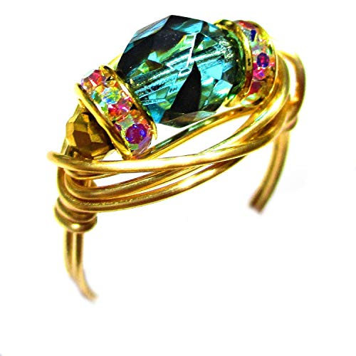 - Teal Tortoise Crystal Czech Art Glass Gold Wire Gold Plated Elements Wrap Ring Women Size 4-12