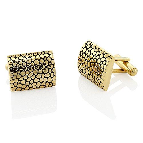 Gem Stone King Gold and Black Contoured Stainless Steel Men's Cufflinks (Gemstone Gold Cufflinks)