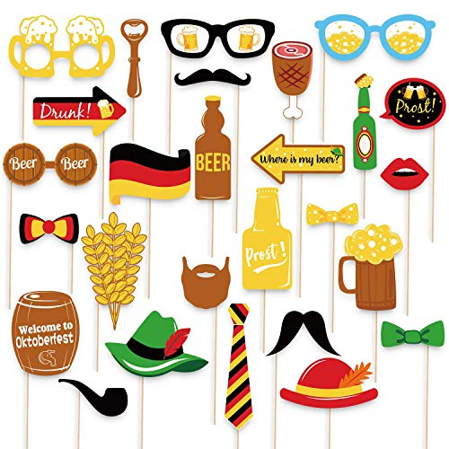 48Ct Oktoberfest Photo Booth Props German Beer Festival Party Supplies -