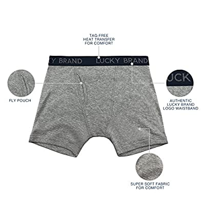 Lucky Brand Men's Cotton Boxer Briefs Underwear with Functional Fly (3 Pack)
