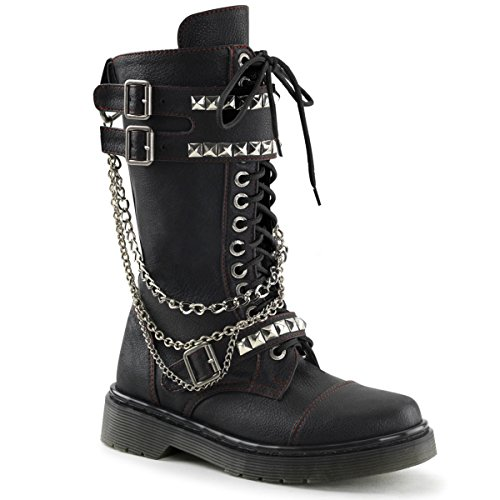 Womens Black Vegan 1.25'' Heeled Punk Boots with Chains and Stud Detail Size: 6