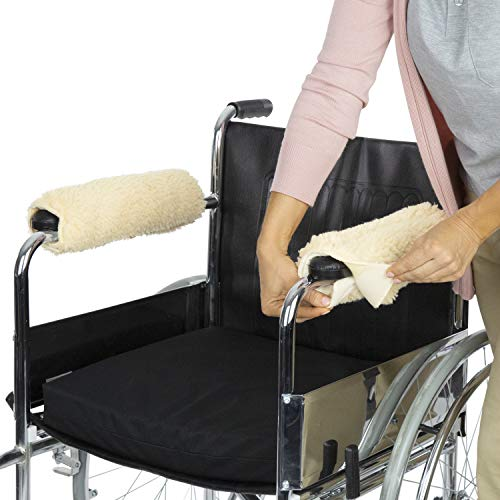 Vive Wheelchair Armrest Cover (Pair) - Memory Foam Sheepskin Pad for Office & Transport Chair - Soft Support Cushion Accessories for Padded Arm Rest, Kids, Adults - Comfort Padding Pressure Relief ()