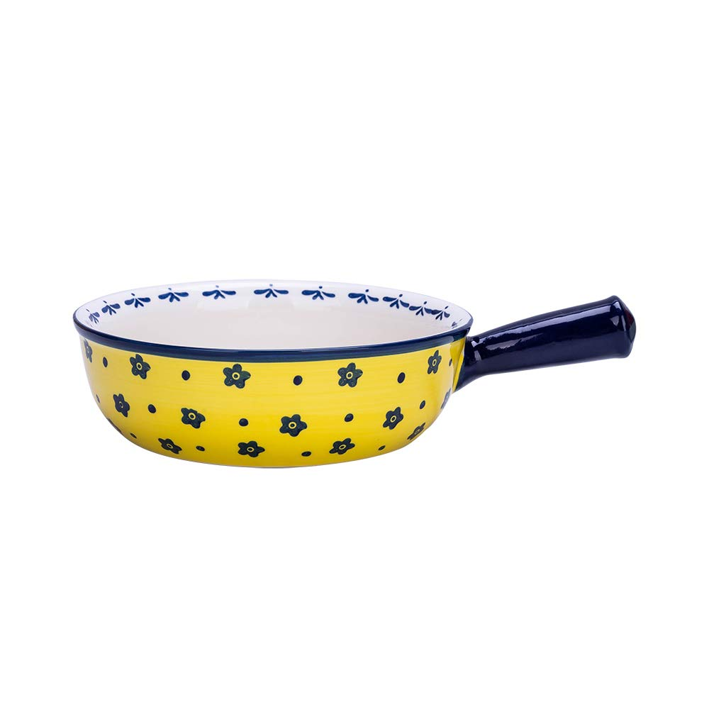 35 Oz Ceramic Glaze Baking Bowl with Handle French Onion Soup Bowl Round Bakeware Suitable for Oven, Yellow Flower