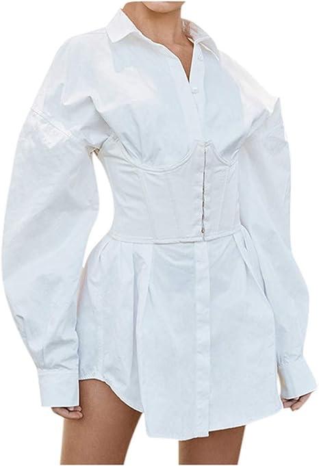 SMILEQ Falda de Camisa de Cintura Alta Irregular de Manga Larga de ...