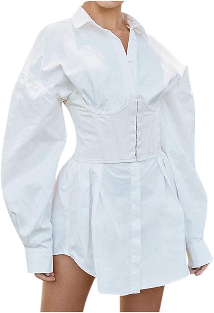Camisa Blanca de Manga Larga para Mujer con Cintura Alta y Minifalda de Petticoat, Elegante, cómoda, Sexy, de Manga Larga, Color Blanco Blanco S: Amazon.es: Ropa y accesorios