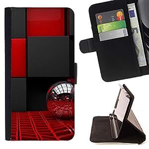 Momo Phone Case / Flip Funda de Cuero Case Cover - Bling Red Ball Interior Design Negro Plata - Samsung Galaxy A3