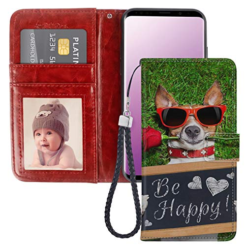 (Uniquely Designed Be Happy Dog Samsung Galaxy S9 Wallet Case Shockproof Flip Folio Synthetic Leather Magnetic Wallet Case for Samsung Galaxy S9 with ID and Credit Card Pockets Hand Strap)