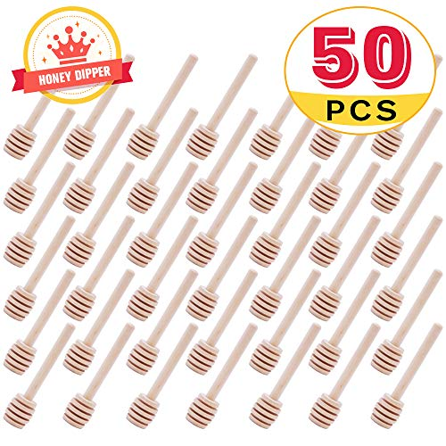 Mini Wooden Honey Dipper Sticks 3 Inch CCCSEE, Individually Wrapped, Honey Jar Dispense Drizzle Honey Wedding Party (50)