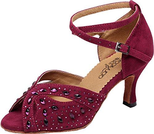 Abby Womens Latino Tango Cha-cha Salsa Party Pomp Moderna Mid Heel Peep-toe Raso Scarpe Da Ballo Professionali Rosa