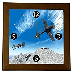 Rikki Knight Messerschmitt German War Plane Design 8 Wood Framed Art Wall Clocks Desk Clocks