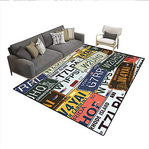 Area Trim License (Floor Mat,Original Retro License Plates Personalized Creative Travel Collections Art,3D Printing Area Rug,Green Blue Yellowsize:6'x9')