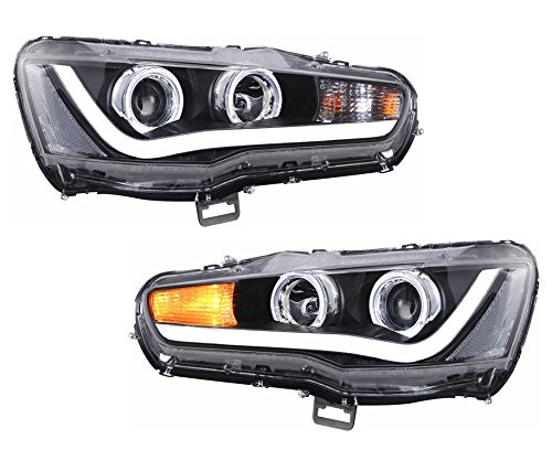 MOSTPLUS Halo Projector LED Headlights for 2008-2017 Mitsubishi Lancer Set (Left & (Mitsubishi Lancer Halo Projector Headlights)