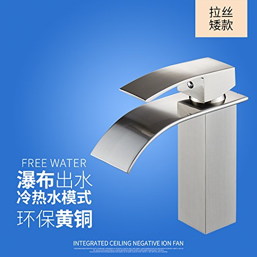 6 LHbox Basin Mixer Tap Bathroom Sink Faucet The copper basin and cold water faucet waterfall faucet vanity area with sink and high surface basin faucet, Brass chrome Low) A