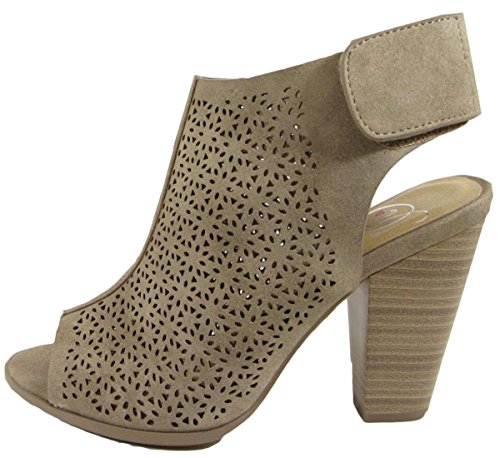 Delicious Women's Cutout Peep Toe Velcro Closure Stacked Chunky Heel Bootie (7.5 B(M) US, Taupe Distressed (Taupe High Heel Peep Toe)