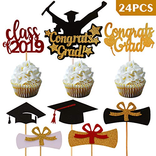 SAVITA Graduation Cupcake Toppers Kit, Congrat Grads Caps for Party Supplies 2019 Cake Decorations(Pack of 24)]()