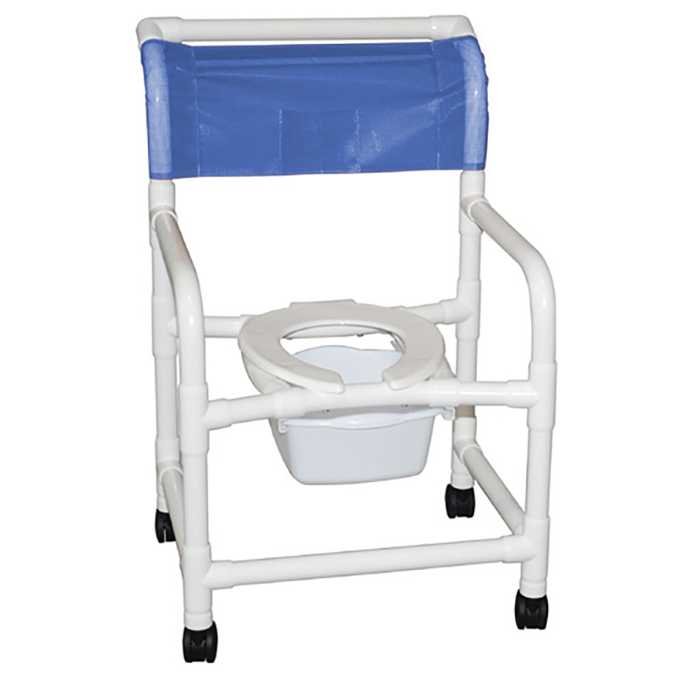 MJM International E122-3TW-SQ-PAIL Echo Wide Shower Chair with Pail, Royal Blue/Forest Green/Mauve