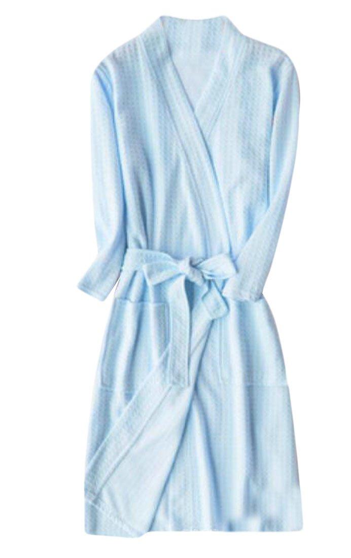 GloryA Womens Cotton Thin Summer Sleepwear 3/4 Sleeve Waffle Solid Robes Light Blue M