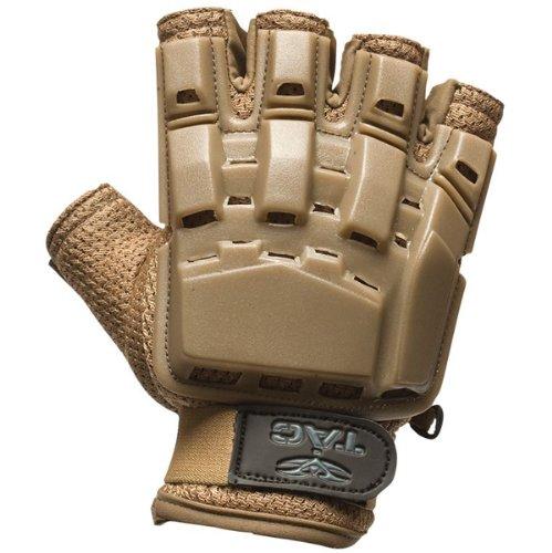 (Valken Paintball V-Tac Half Finger Plastic Backed Gloves - Tan -)