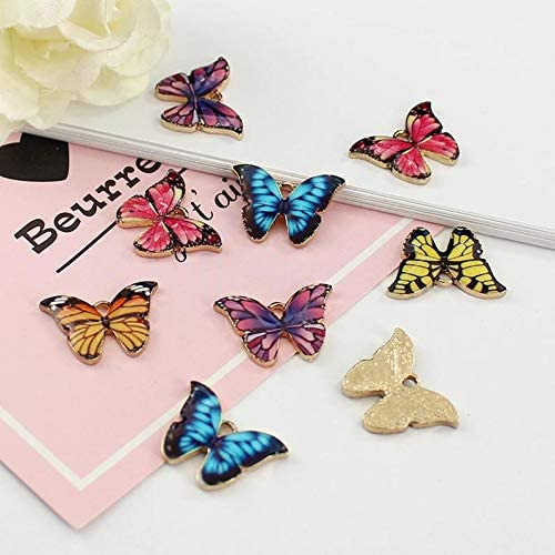 10 PCS Butterfly Pendants Charm Colourful Enamel Animal For DIY Jewelry Making
