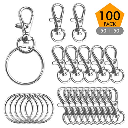 """Metal Swivel Lobster Claw Clasp Lanyard Snap Hook (100 Pack) 1.25"""" x 0.5"""" with Key Rings - Jewelry Findings or Sewing Projects"""