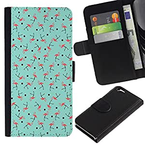 For Apple Apple (4.7 inches!!!) iPhone 6 / 6S Case , Teal Green Pink Bird Pattern - la tarjeta de Crédito Slots PU Funda de cuero Monedero caso cubierta de piel