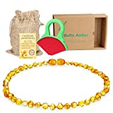 Dannielbaby Raw Baltic Amber Teething Necklace for Babies - (Honey) Anti-Flammatory, Drooling & Teething Pain Reduce Properties - Natural Certificated Oval Baltic Jewelry with The