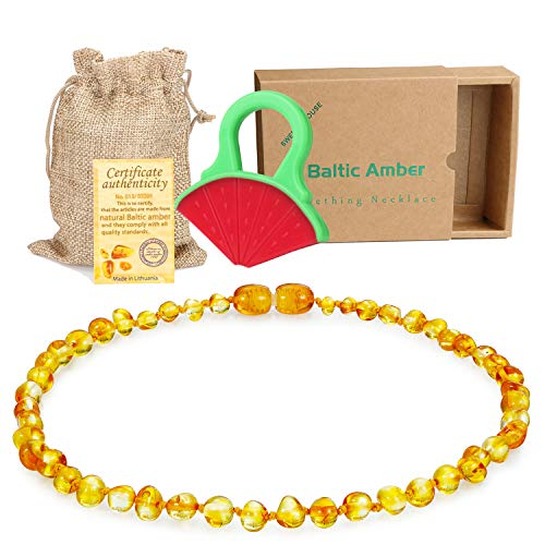 Best amber teething necklace toddler 14 inches list