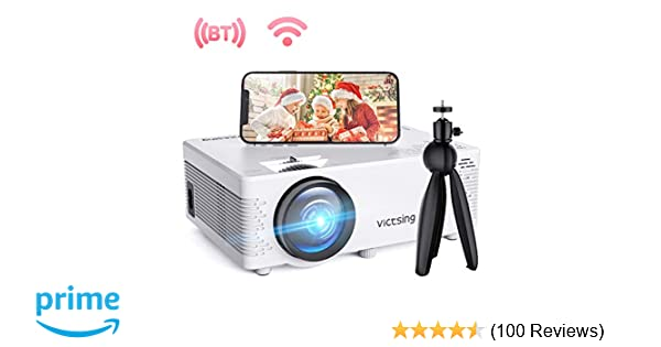 VicTsing WiFi Projector, Bluetooth & Screen Mirroring, 3600 Lux Wireless Projector Bluetooth with Tripod, 1080P Supported, HiFi Sound. Mini Projector ...