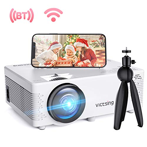 VicTsing WiFi Projector, Bluetooth & Screen Mirroring, 3600 Lux Wireless Projector Bluetooth with Tripod, 1080P Supported, HiFi Sound. Mini Projector Compatible with TV Stick, PS4.【2020 New Tech】