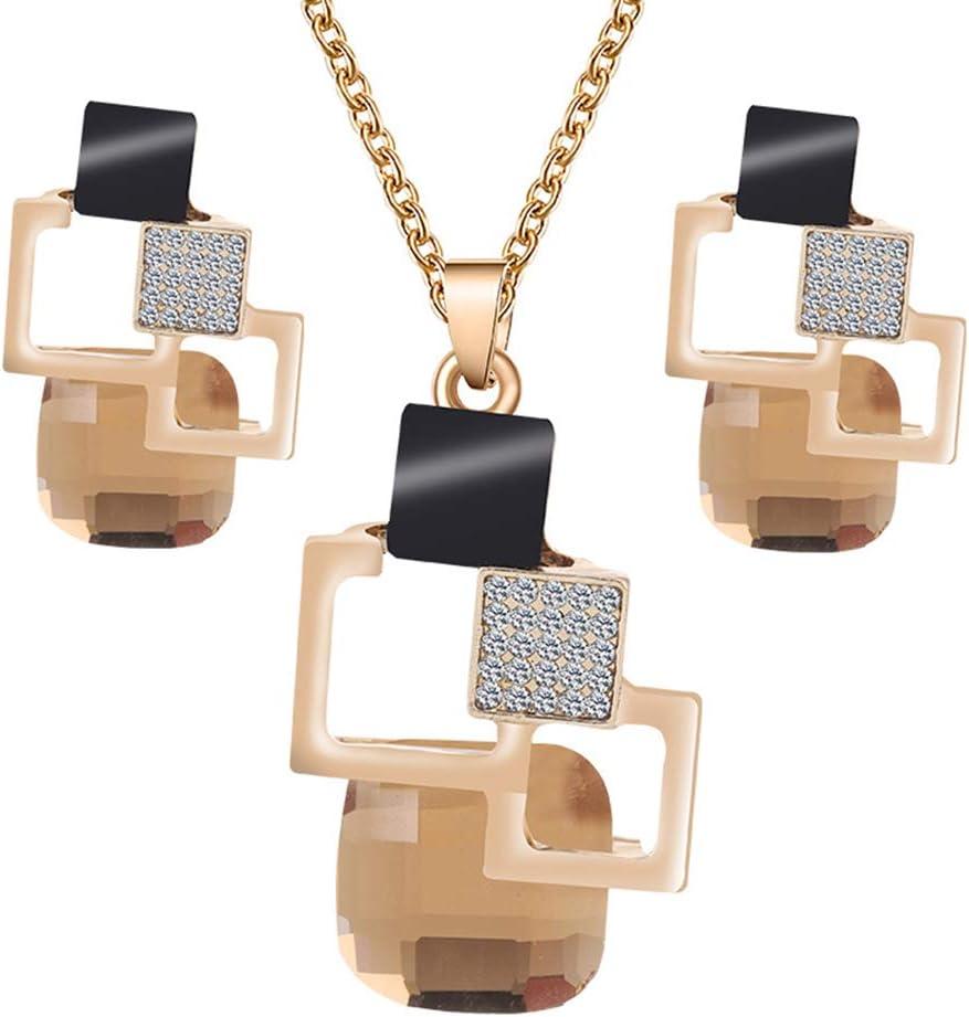 LTLWL Conjunto de Joyas, Conjunto De Pendientes de Collar con Incrustaciones de Piedras Preciosas de Cristal con Incrustaciones, Maravillosa Idea de Regalo,Metálico