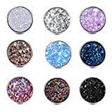 Dolovely Stainless Steel Druzy Stud Earrings Set for Girls Women Hypoallergenic Pierced Earrings 9 Pairs