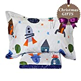 Brandream Space Bedding for Kids Boys Bedding Sets Rockets Printed Soft Bed Sheet Set Deep Pockets 18 Inch Cotton Bed Sheets Sets-Flat Sheet Fitted Sheet Pillowcase Full Size