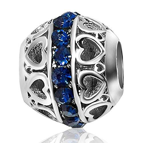 - KunBead Birthstone Heart Charms Blue September Bead for Bracelets
