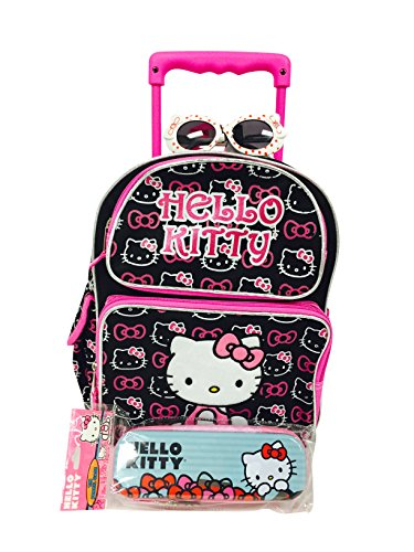 Sanrio Hello Kitty Toddler Rolling Backpack and One Hello Kitty Style Sunglasses Set