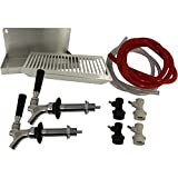 Double Faucet Draft Beer Refrigerator Conversion Kit w/ 4 1/2'' Shanks