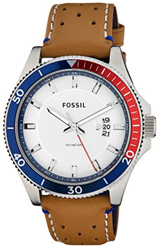 Fossil Men's FS5054 Wakefield Stainless Steel Watch with Perforated Leather Band