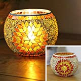European Vintage Mosaic Glass Led Candle Holders Handmade Geometric Mosaic Glass Pieces Bowl Candleholders Flameless Battery Glittery Sequins Candlesticks Candle Lamps for Wedding Home Party Orange