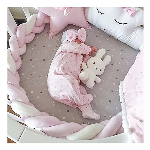 LOAOL Baby Crib Bumper Knotted Braided Plush Nursery Cradle Decor Newborn Gift Pillow Cushion Junior Bed Sleep Bumper (4 Meters, Pink-White-Pink)