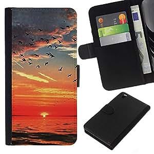All Phone Most Case / Oferta Especial Cáscara Funda de cuero Monedero Cubierta de proteccion Caso / Wallet Case for HTC DESIRE 816 // Sea Red Sky Birds Clouds Ocean
